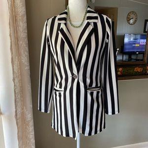 Shein Black and White Striped Blazer